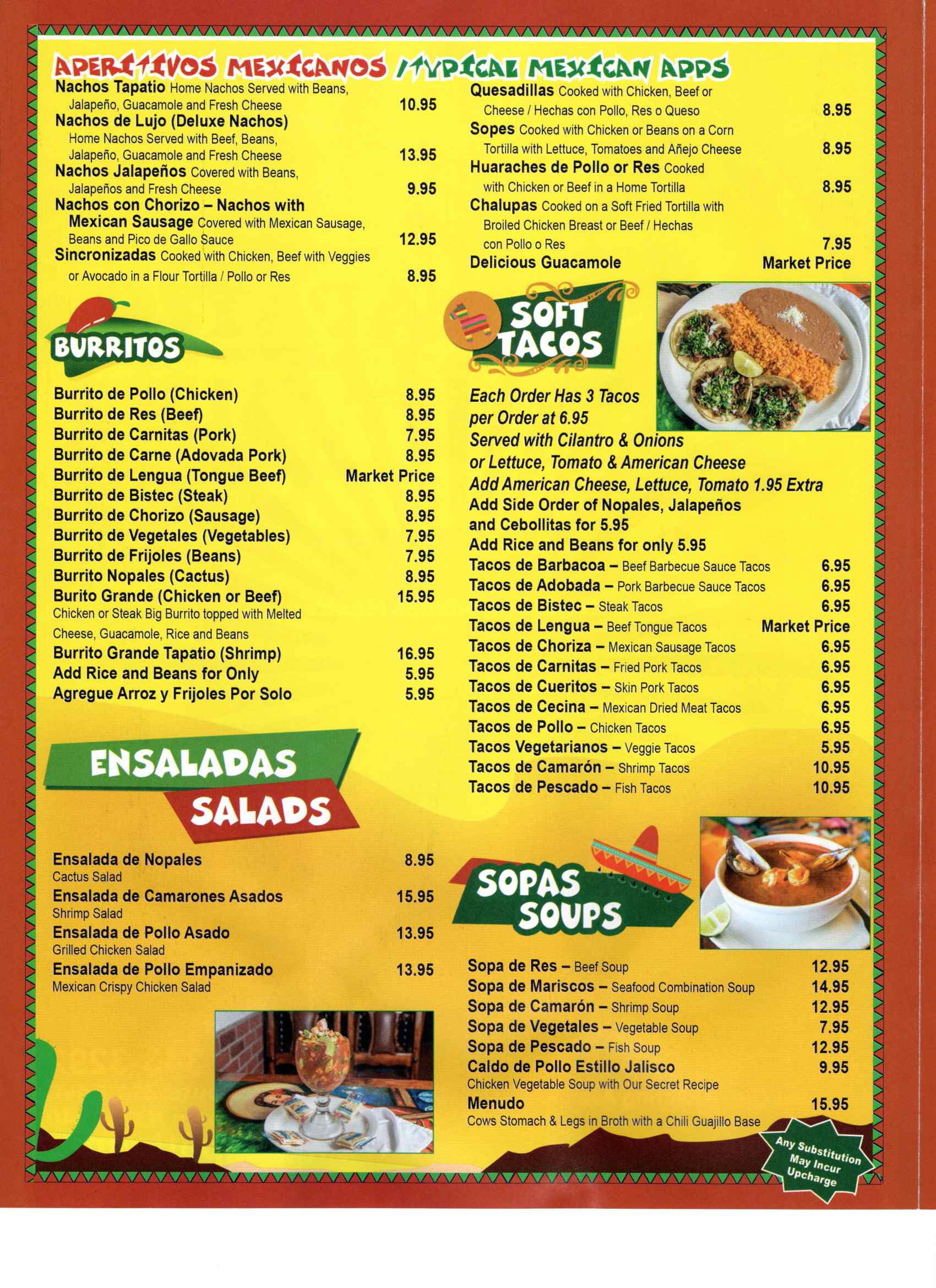 El Tapatio Menu Page 1